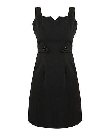 Black Two-Button Silk Sheath Dress #zulily #zulilyfinds