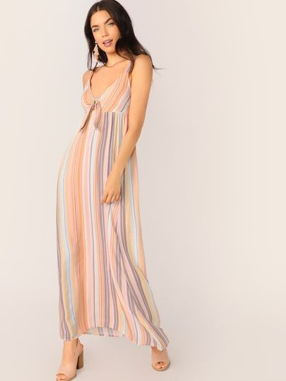 7b2a9254ee Tie Front Smocked Sleeveless Stripe Maxi Dress Color: Multicolor Details:  Cut Out, Shirred