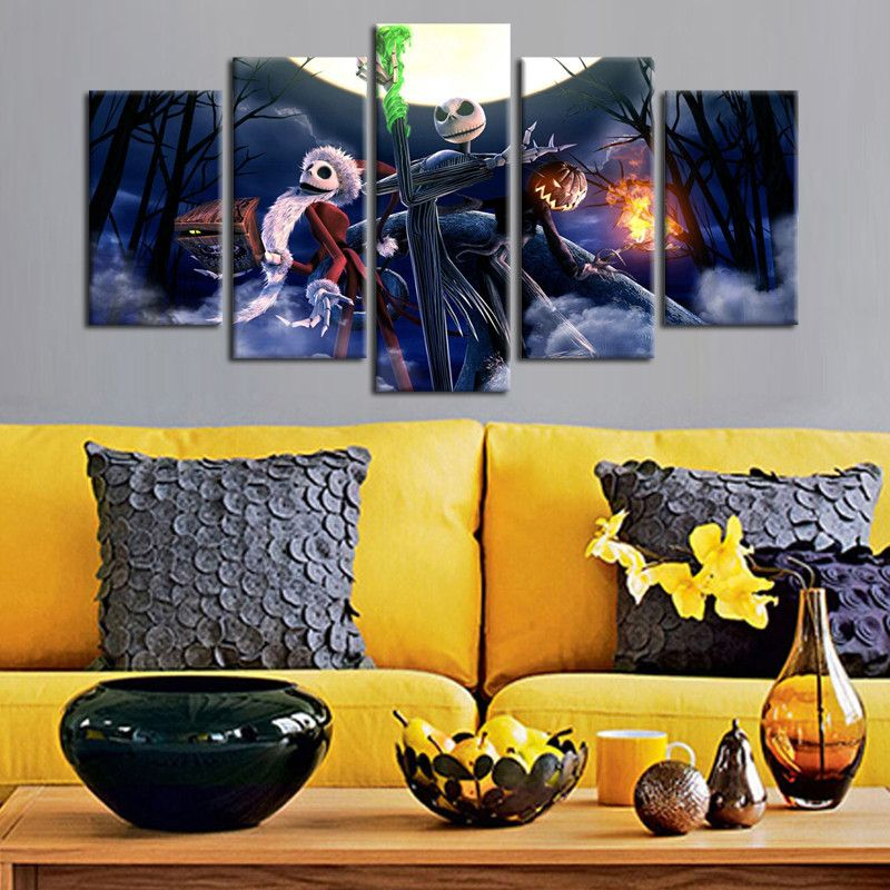 5 Panel Nightmare Before Christmas Print Canvas Painting Picture ...