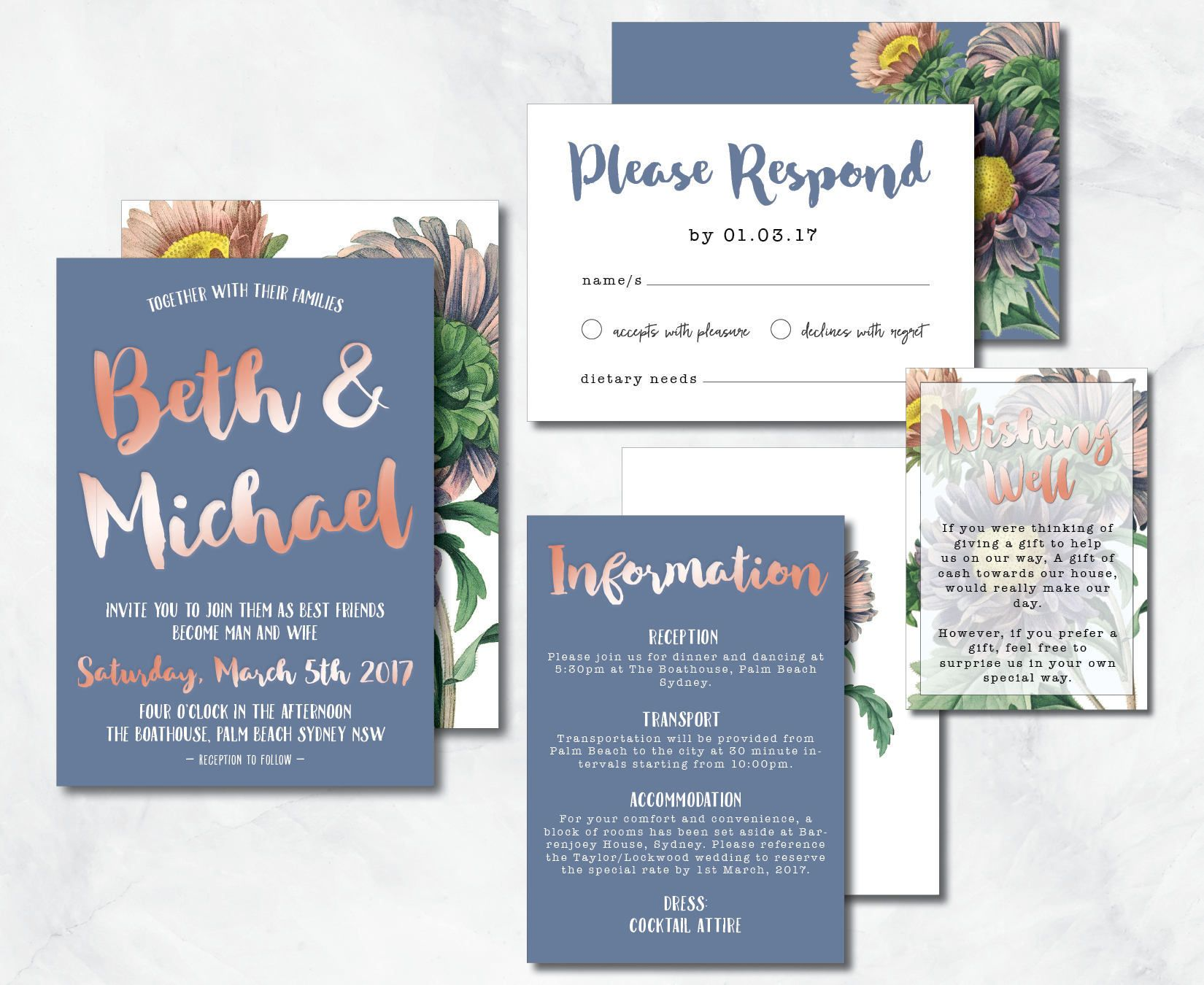 PRINTED Cornflower Blue & Rose Gold Foil Wedding Invitation Suite ...