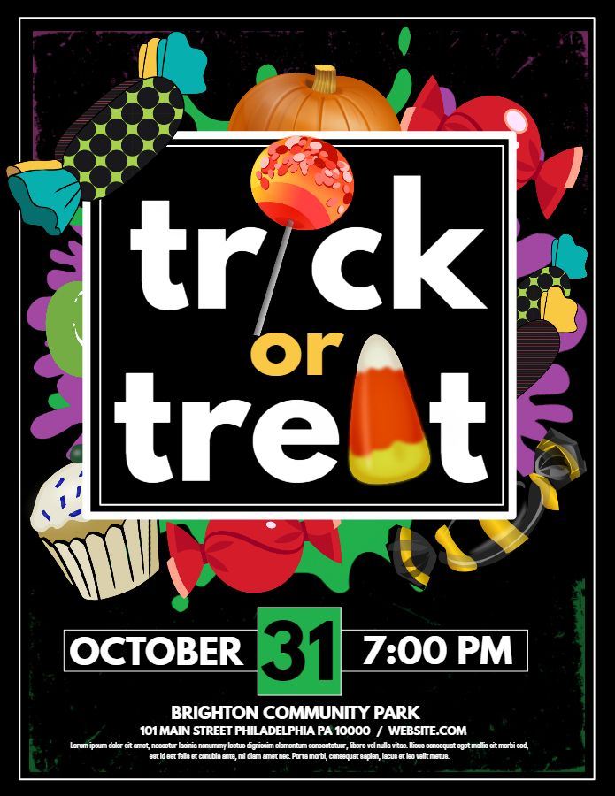 Trick or treat halloween party flyer template Halloween Poster - halloween party flyer
