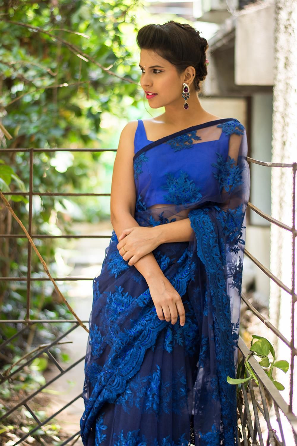 efda25161d72f5 Deep blue net with lacy self threadwork and stone work saree #saree #blouse  #houseofblouse #indian #bollywood #style #blue #net #lace #threadwork  #cocktail