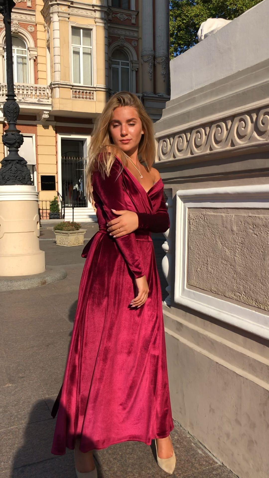 Bridesmaid burgundy velvet wrap dress