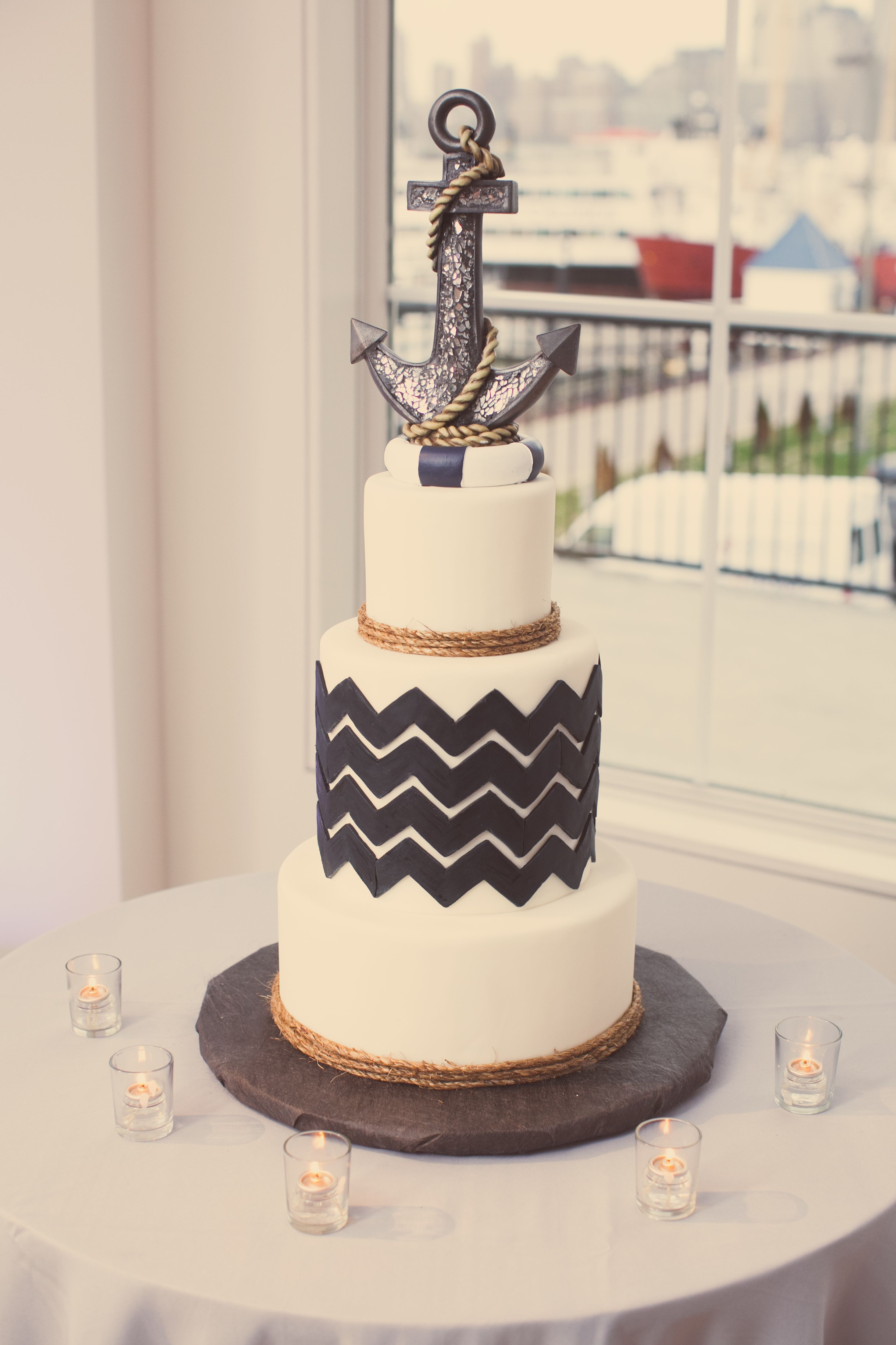 wedding cake | anchor | quirky | hipster | nautical | theme ...
