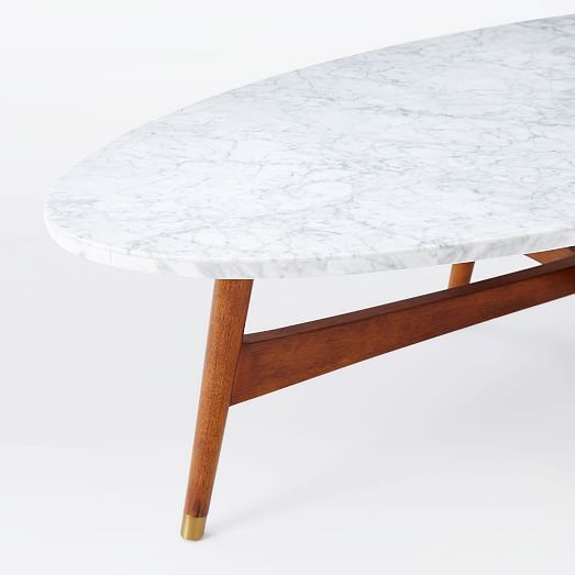Reeve Mid Century Oval Coffee Table Marble Top Marble Top