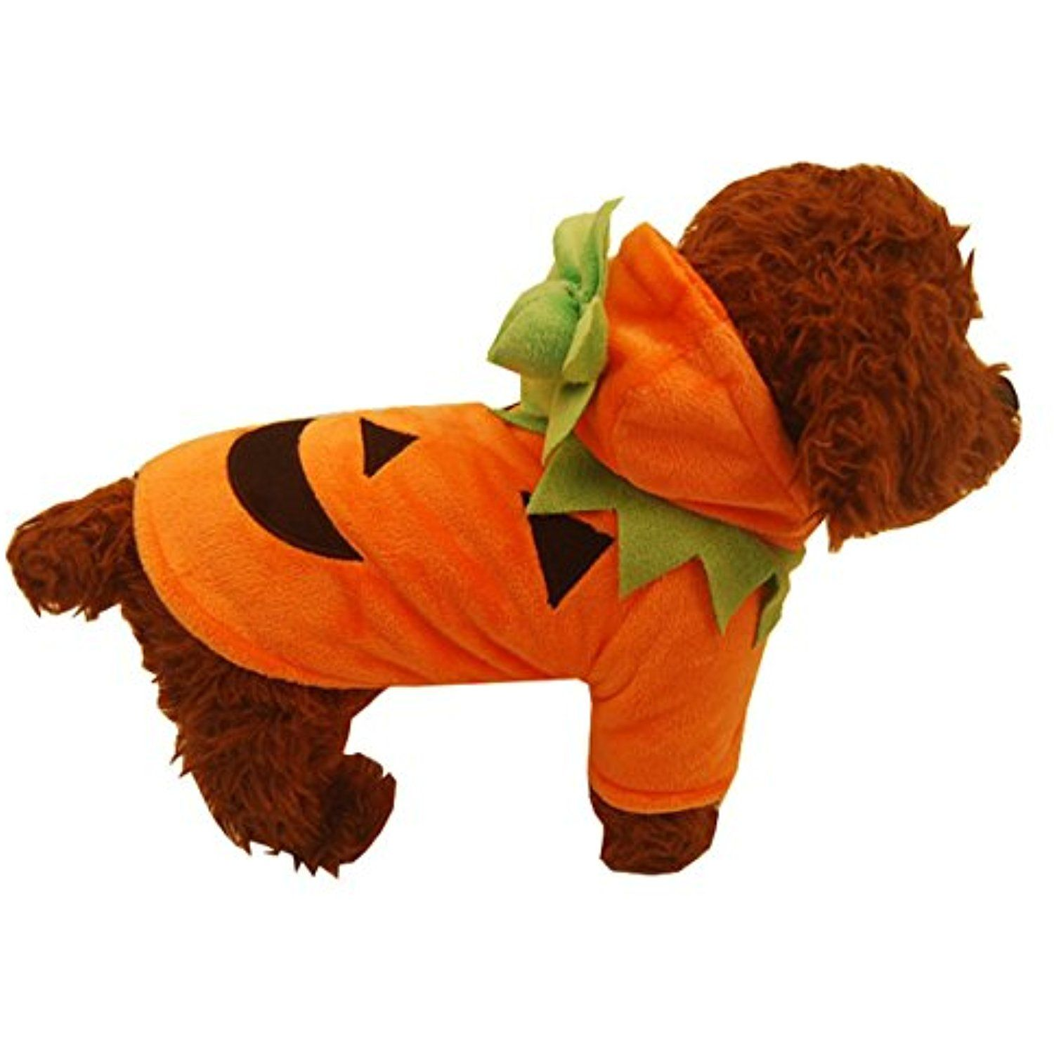 LETSQK Funny Fleece Halloween Costume Pumpkin Pooch Hooded