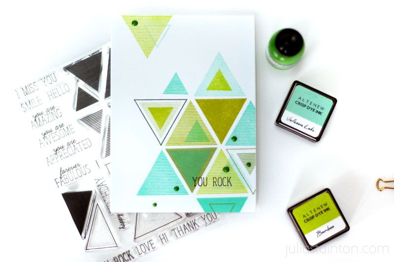 You Rock Geometric Triangles Card by Julia Stainton featuring Altenew Stamps and Inks