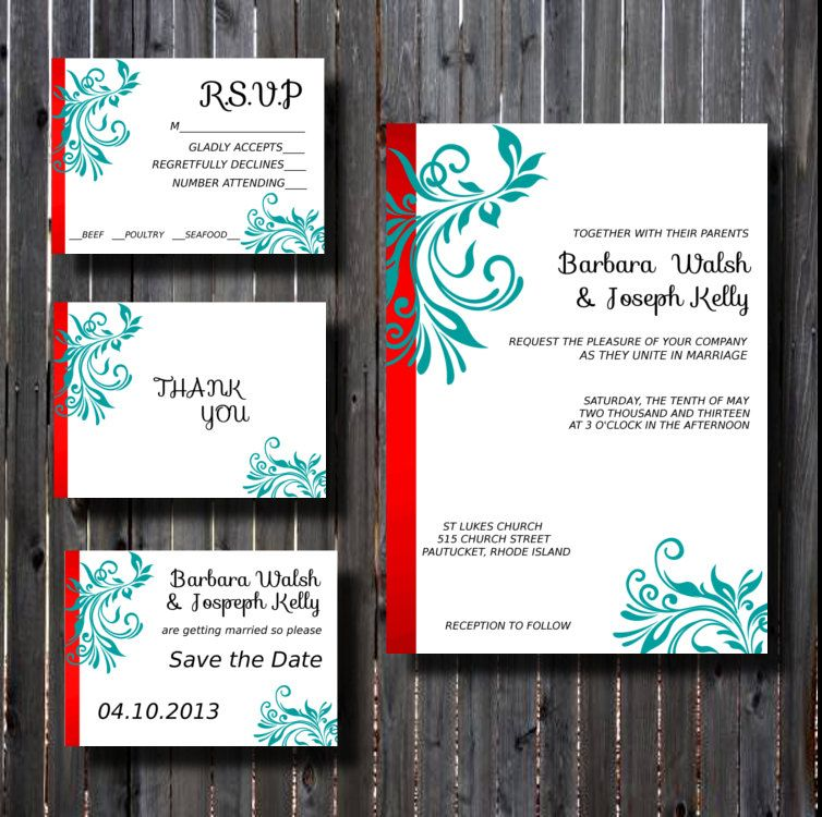 Wedding Invitation Suite DIY Printable Red And Teal Fancy Flourish Scroll