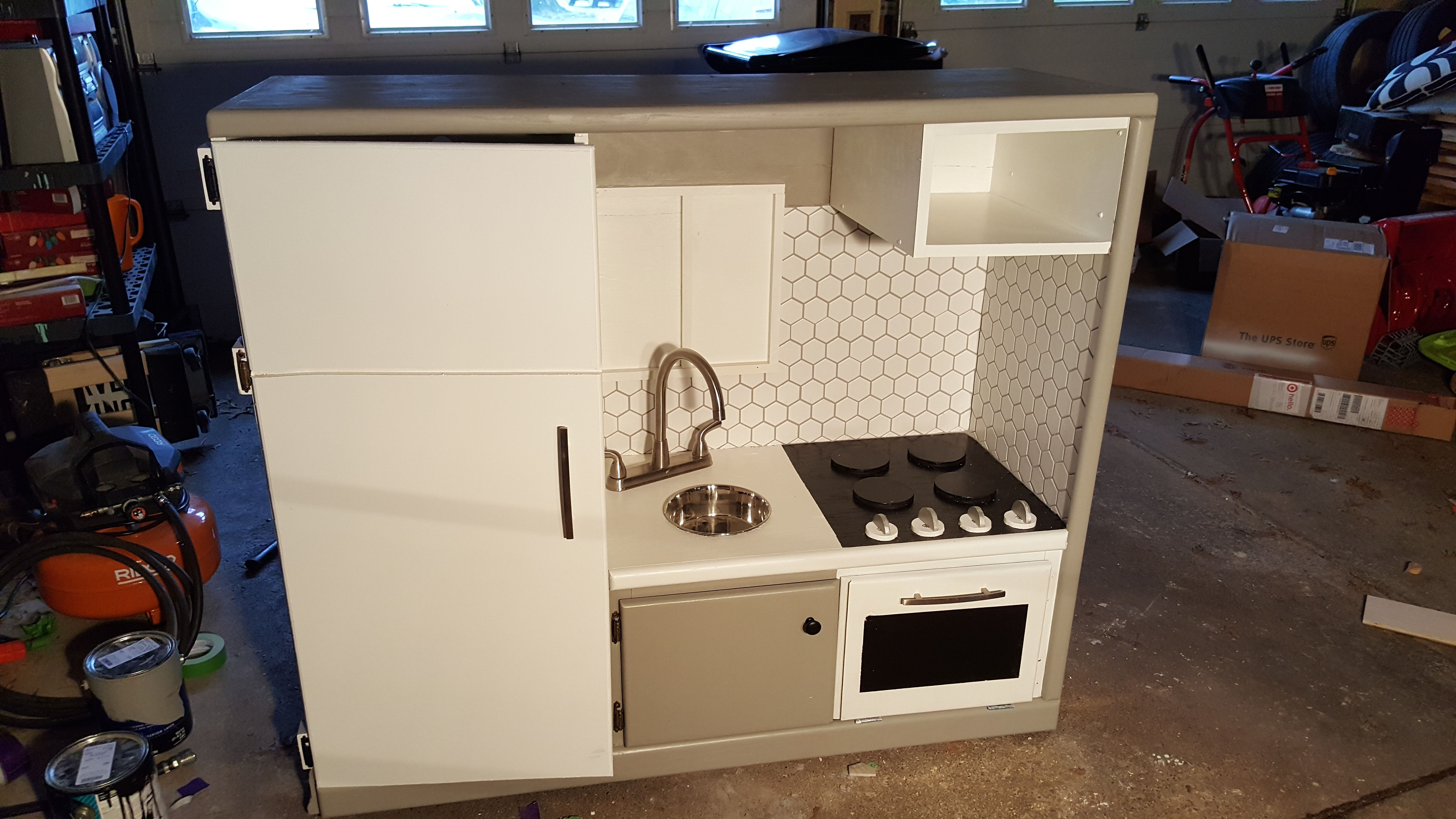 Play Kitchen from an old entertainment center (#QuickCrafter) | kid ...