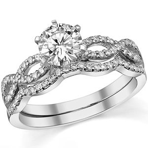 Ring Snack Quality Wedding Brand Directly From China Guard Suppliers Luxury Set White Gold Plated Center Round