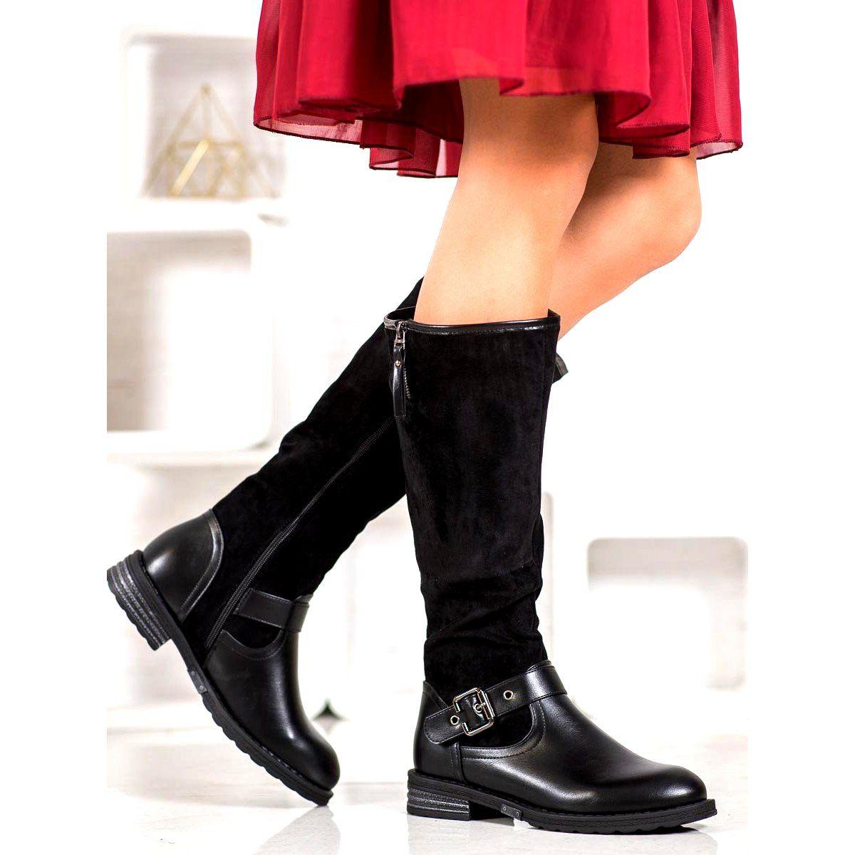 Shelovet Oficerki Z Klamra Czarne Boots Over Knee Boot Fashion