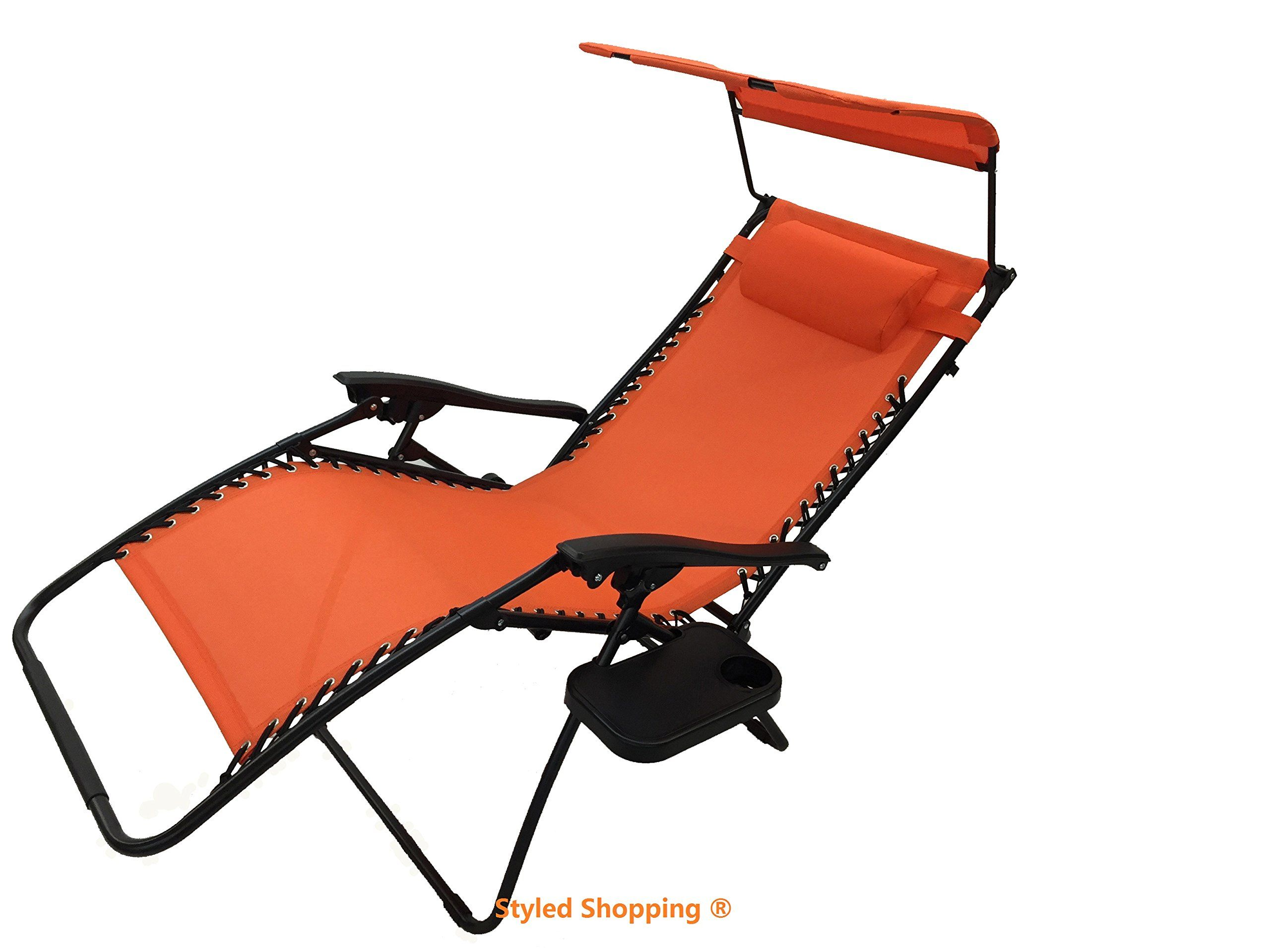 Deluxe Oversized Extra Large Zero Gravity Chair With Canopy Tray