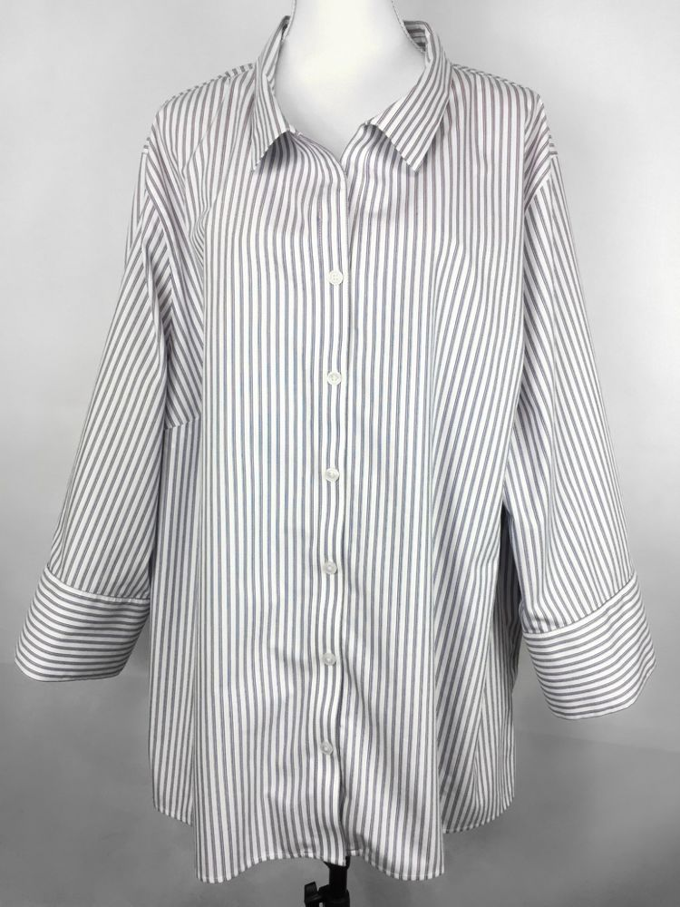 cc80e28f90e CATHERINES Women s Shirt 4X 30 32W White Blue Striped Button Down 3 4  Sleeve Top  Catherines  Blouse  Career