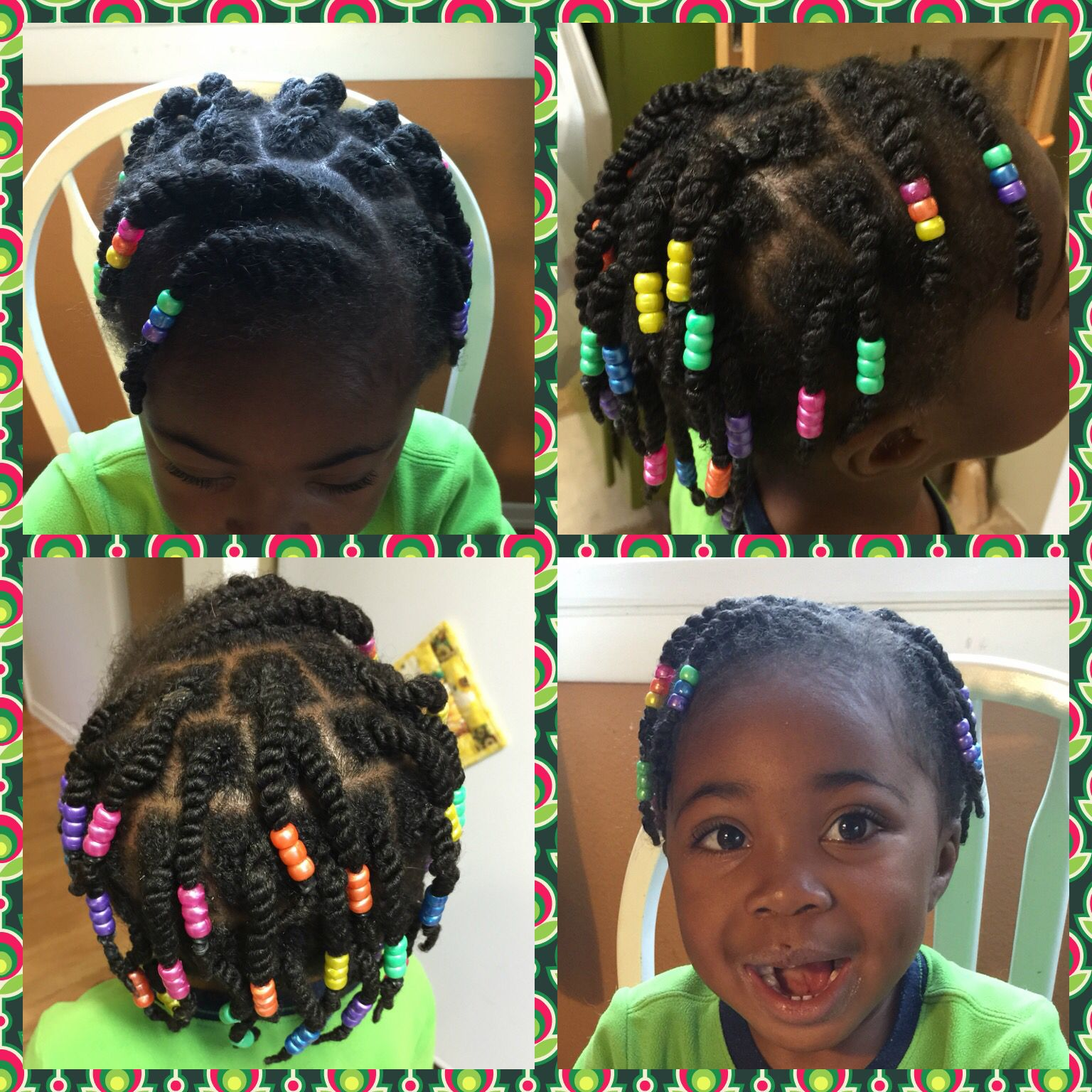 Rope Twists And Beads Little Girl Natural Hair Protective Style
