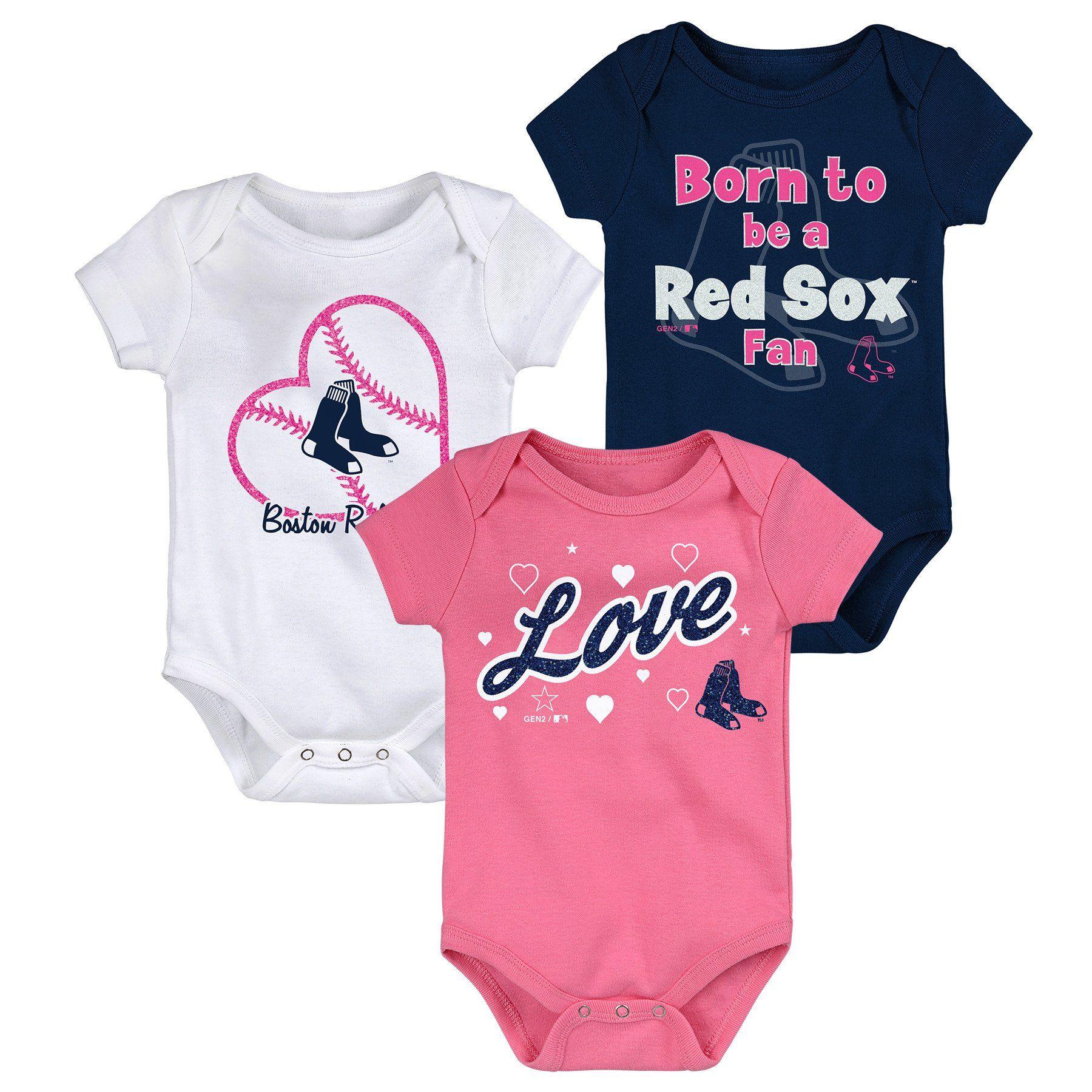 Boston Red Sox Baby Infant 2-Pack Romper Creeper Bodysuit Set Newborn