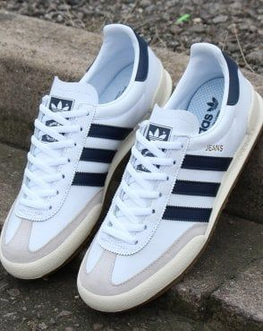 Adidas Jeans Trainers White/navy | Adidas shoes originals, Adidas ...