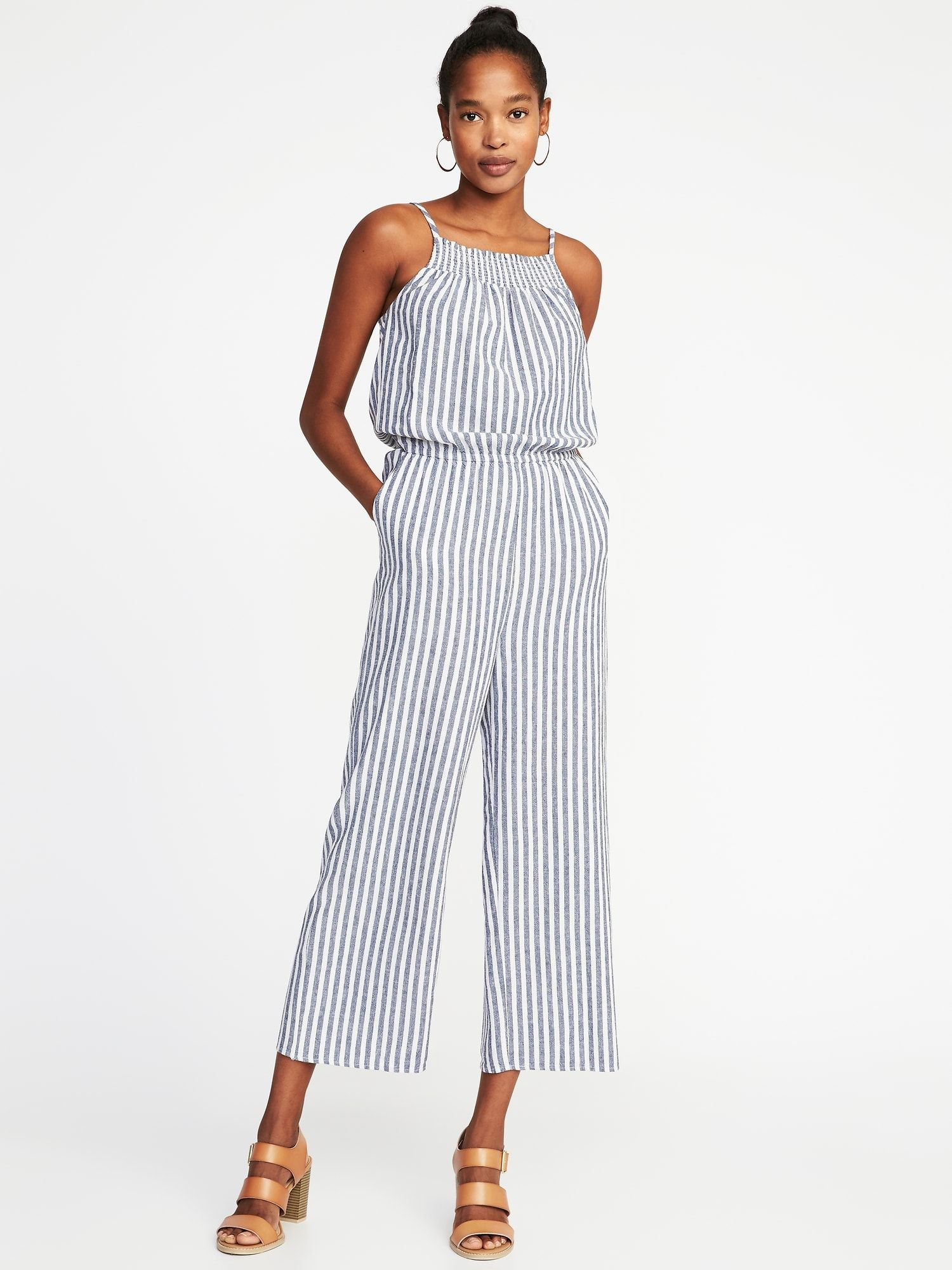 d5532f80a01d Sleeveless Smocked-Neck Striped Jumpsuit for Women in 2018
