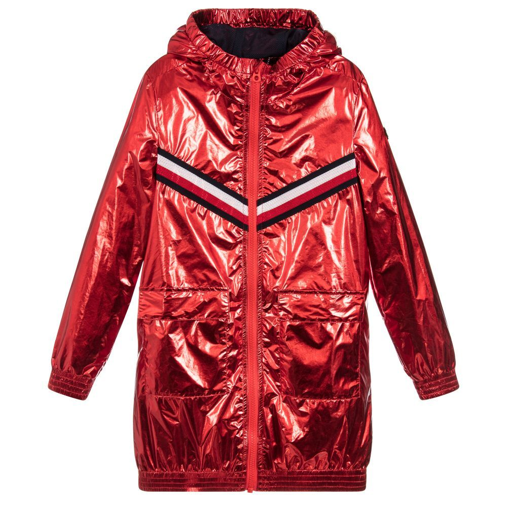 Girls eyecatching red metallic coat from Tommy Hilfiger