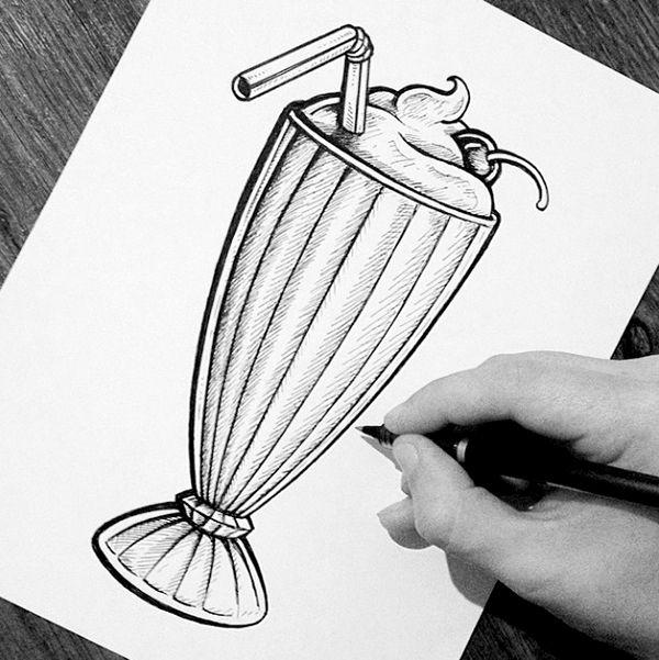 Milkshake Drawing Ink Google Search Vintage Drawing Drawings Chalkboard Drawings