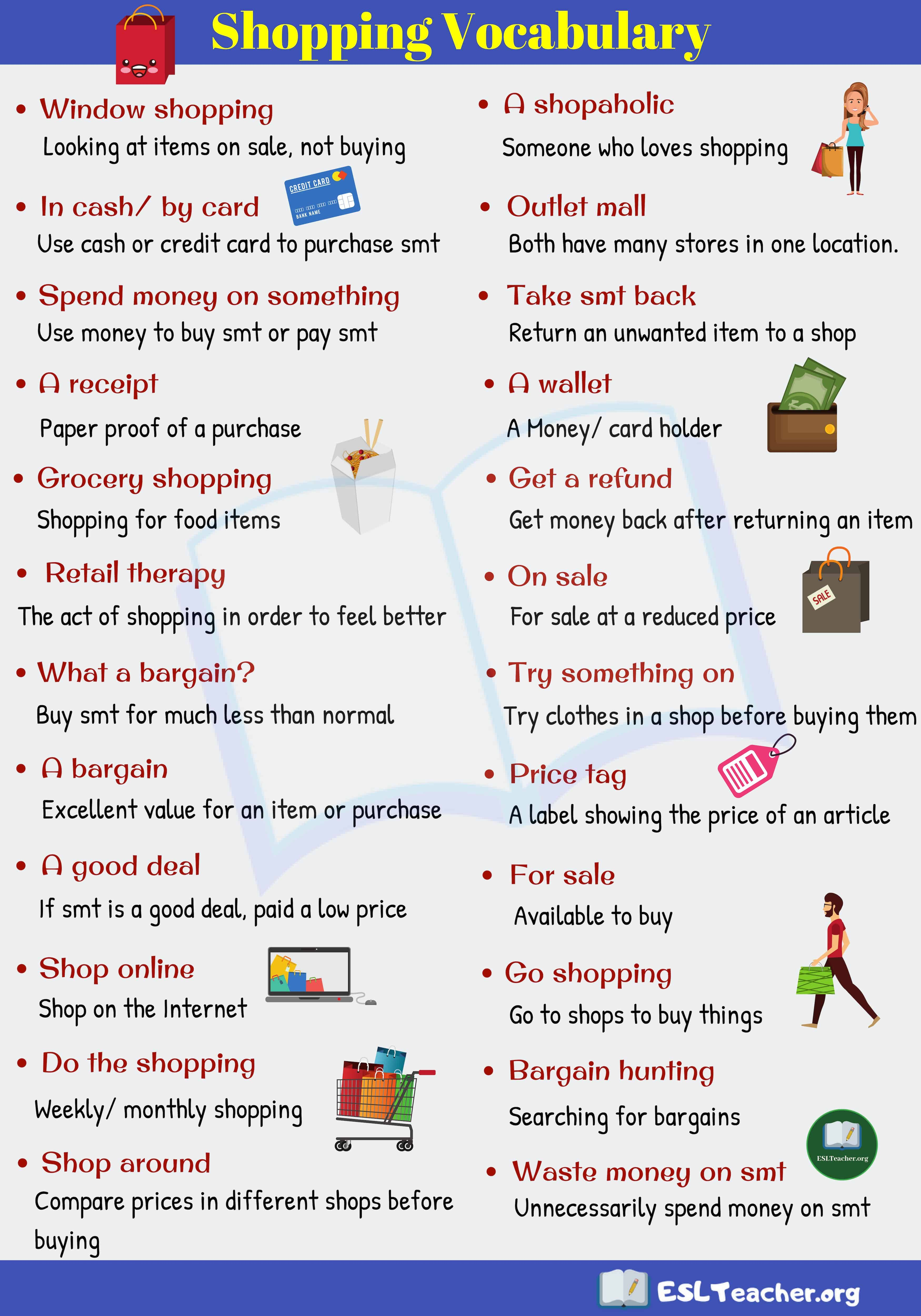 Shopping Vocabulary 26 Useful Shopping Vocabulary In