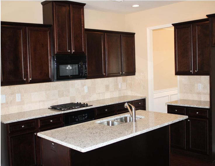 Kitchen Backsplash Cherry Cabinets White Counter white countertops with espresso cabinets - google search