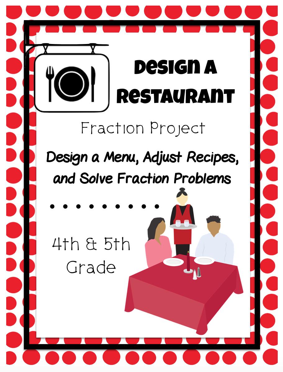 Design A Restaurant Fraction Project Fractions Teaching Math Sixth Grade Math [ 1200 x 912 Pixel ]