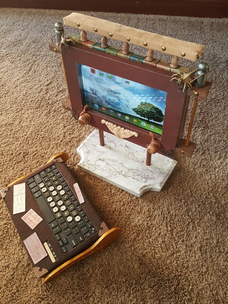 Steam punk tablet and Bluetooth keyboard. built by Randy