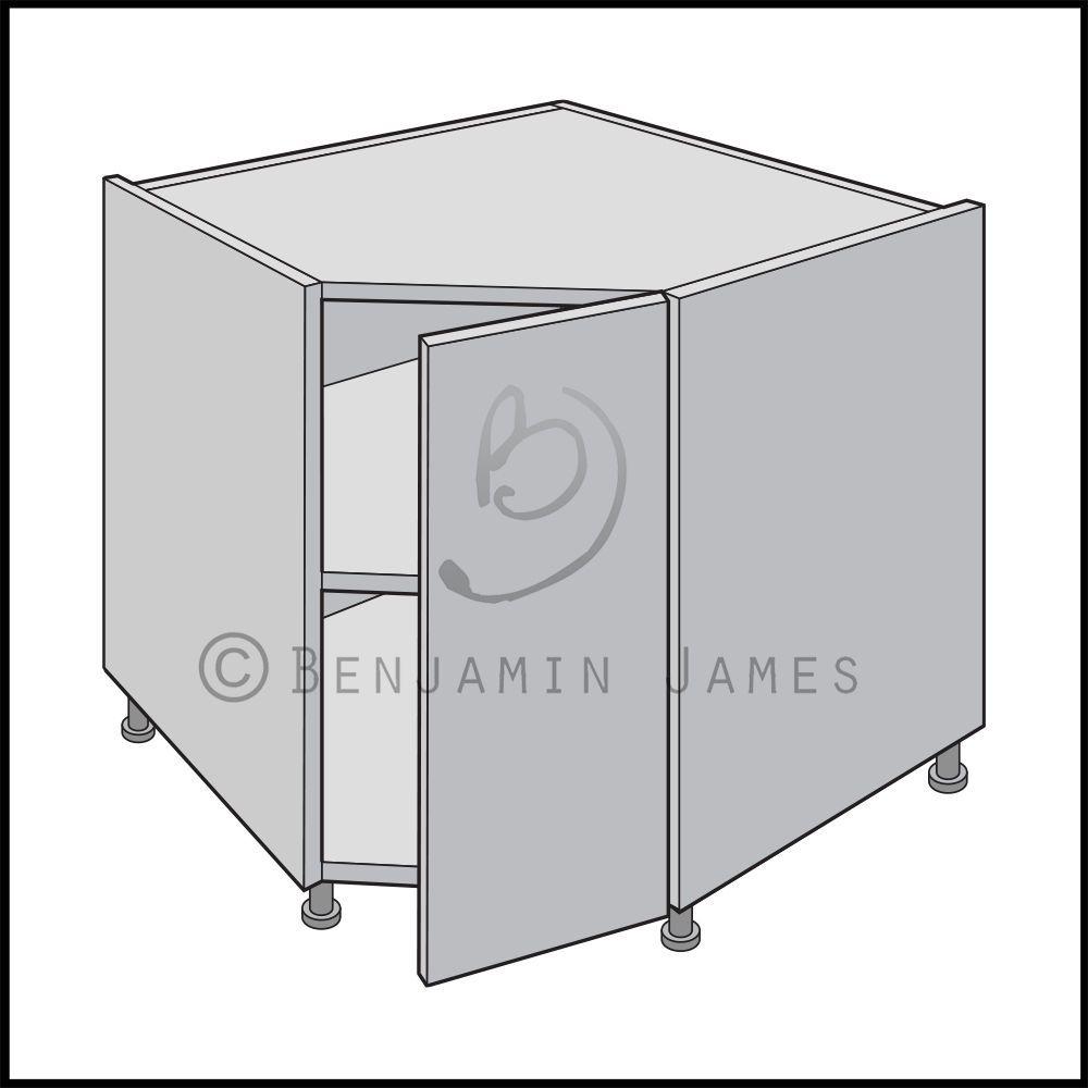 Kitchen carcass unit diagonal corner base unit 18mm for Kitchen cupboard carcass
