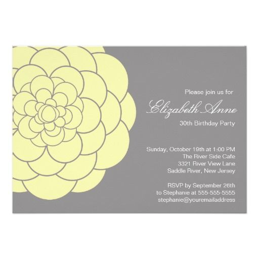 Modern Yellow Dahlia Bloom Birthday Party Personalized Invitations
