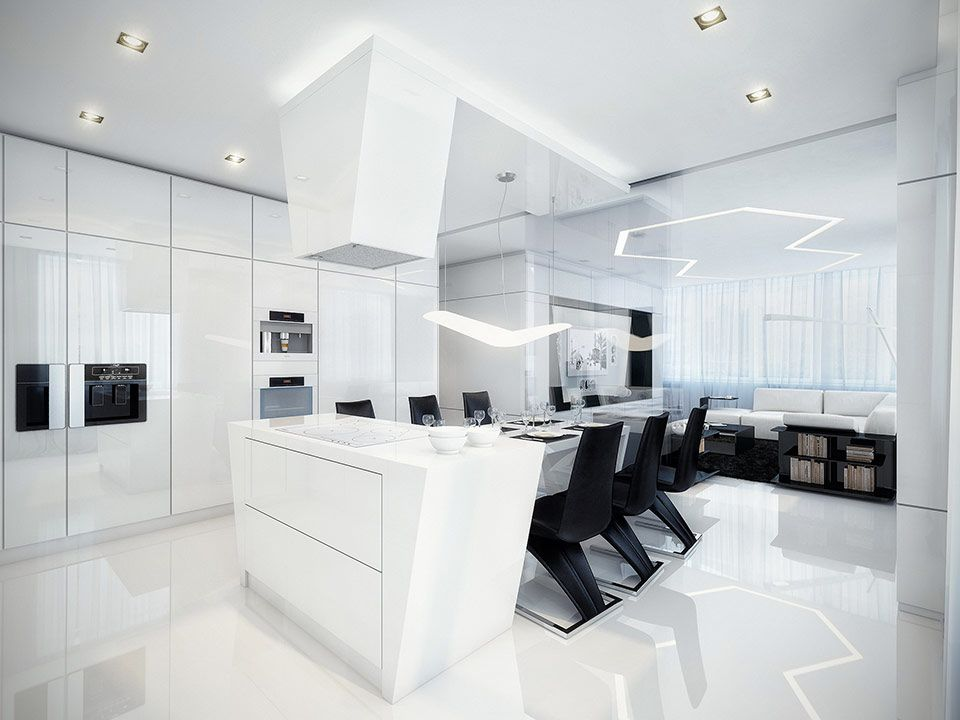 Amazing futuristic black and white apartment by geometrix black and white dining room and kitchen black chair