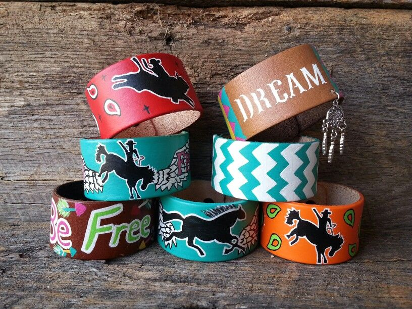 Hand Painted Leather Bracelets ORDER AT www.danddwesternwear.com
