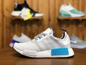 011064c2a Mens Womens Adidas NMD R1 Runner Nomad Boost White Bright Cyan Blue S31511  Running Shoes