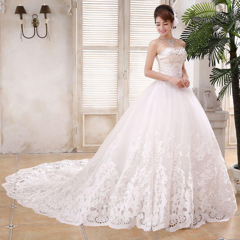 Lace Customized Wedding Dress Trailing Chest Strap Diamond
