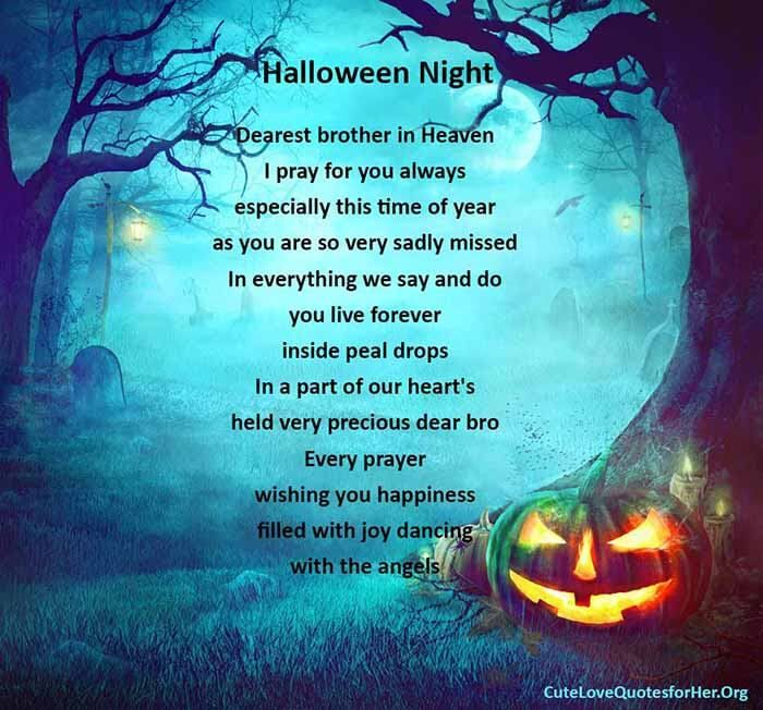 Halloween Night Poem For Brother In Heaven