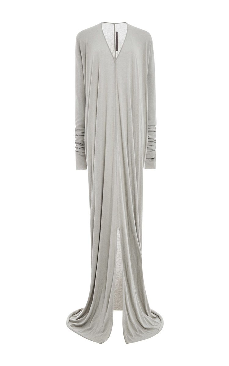 16698dec774e Wool Angora Blend Long Sleeved V Neck Gown by Rick Owens Lilies Now  Available on Moda Operandi