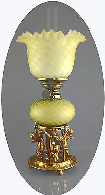 Antique Art Glass Diamondquilted Mother Of Pearl Gilded Mini Oil Lamp H2  578 | EBay