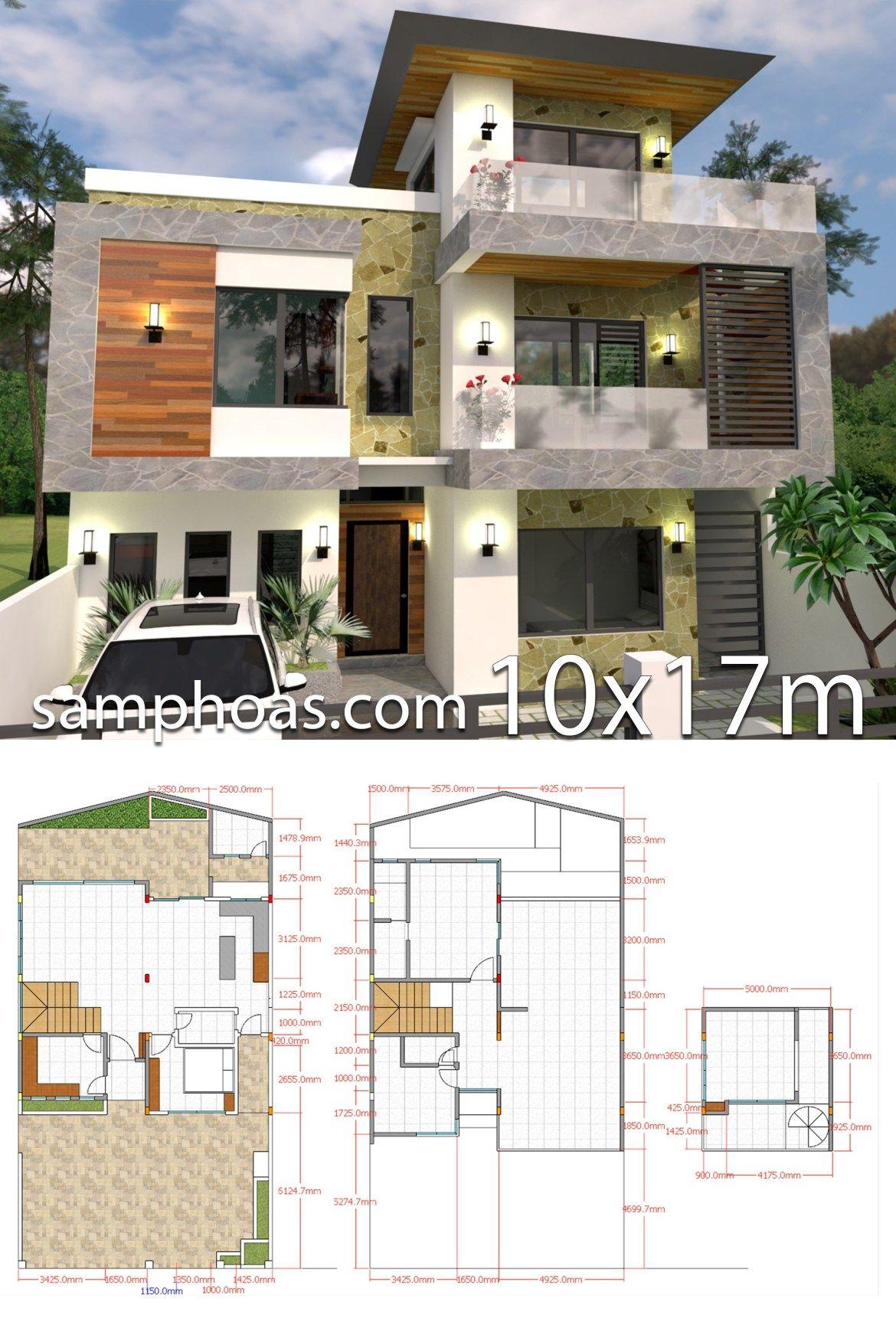 Plan 3d 5bedroom Home Design Plan 10x9m Full Plan Samphoas Plansearch Cool House Designs Modern Style House Plans House Design