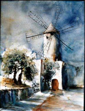 Watercolor Landscape Painting spain cadiz