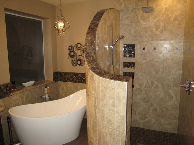 Snail showers without doors snail shower ideas for the for Master bath designs without tub