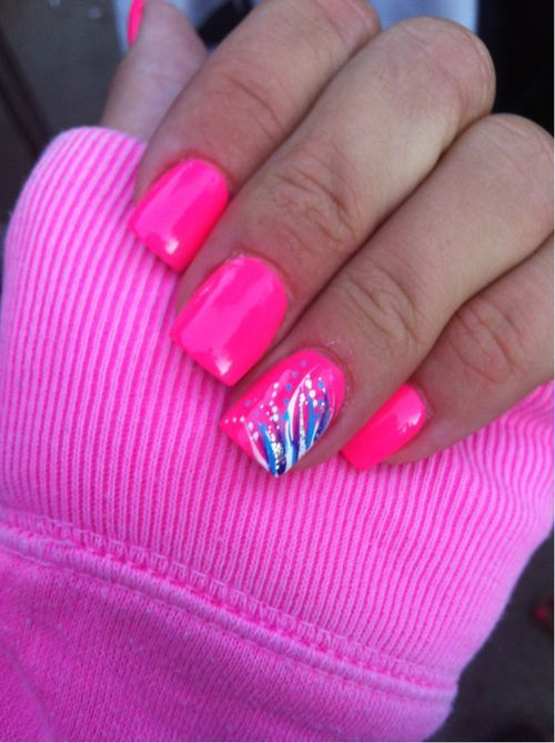 Bright Pink Nail Polish W A Pop Of Blue White Summer Color