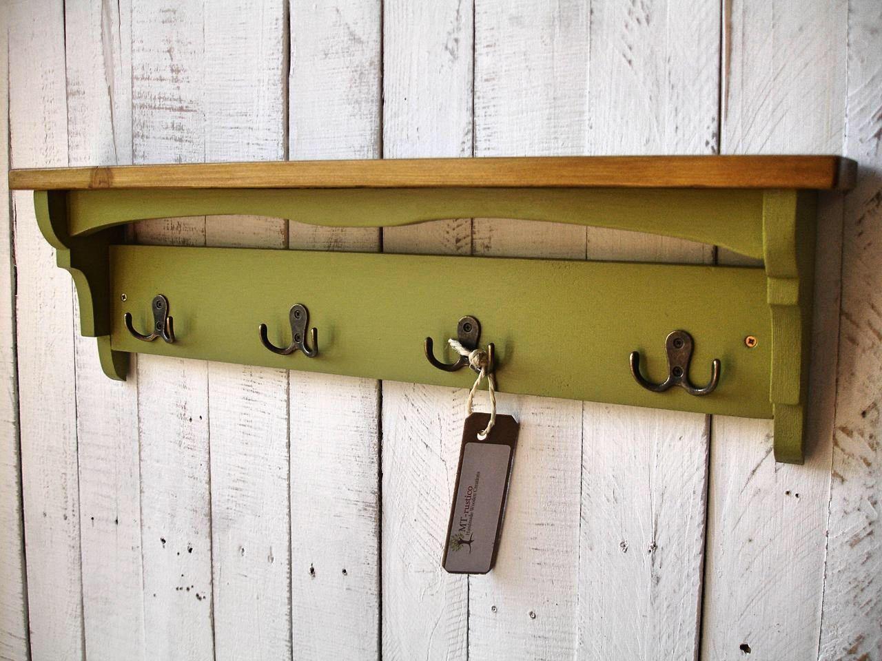 Rustic hallway coat rack with hooks,shelf, handmade from solid ...