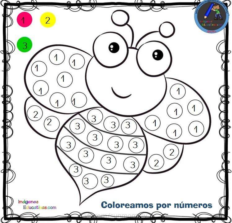 Fichas Para Colorear Por Letras Numeros Y Simbolos Fichas Figuras Geometricas Para Preescolar Numeros Para Ninos