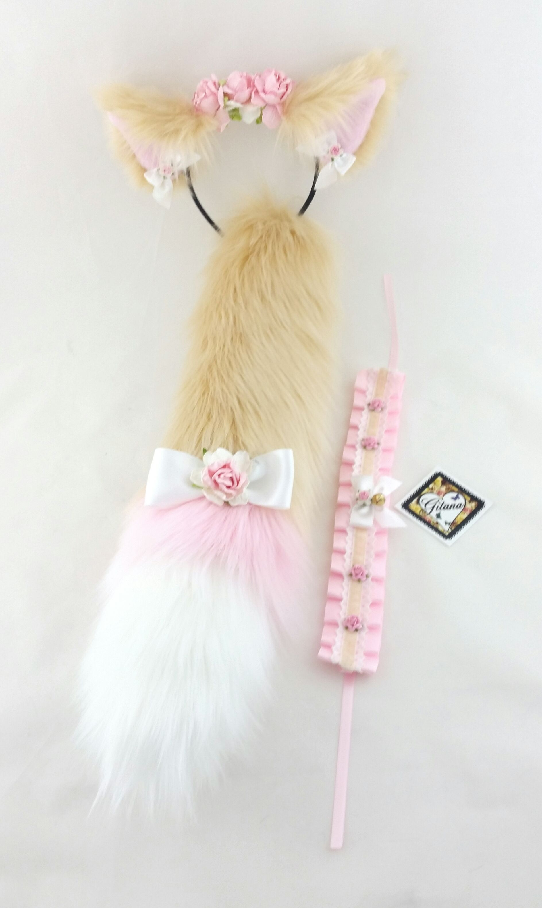 Adult Realistic Cat Ears Tail And Choker Set Cat Costume Lolita