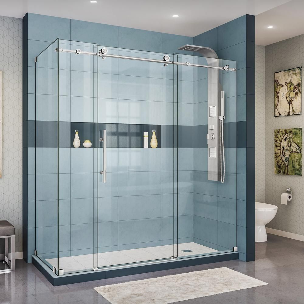 Dreamline Enigma X 32 1 2 In D X 72 3 8 In W X 76 In H Frameless Sliding Shower Enclosure In Polished Stainless Steel Frameless Shower Enclosures Frameless Sliding Shower Doors Shower Doors