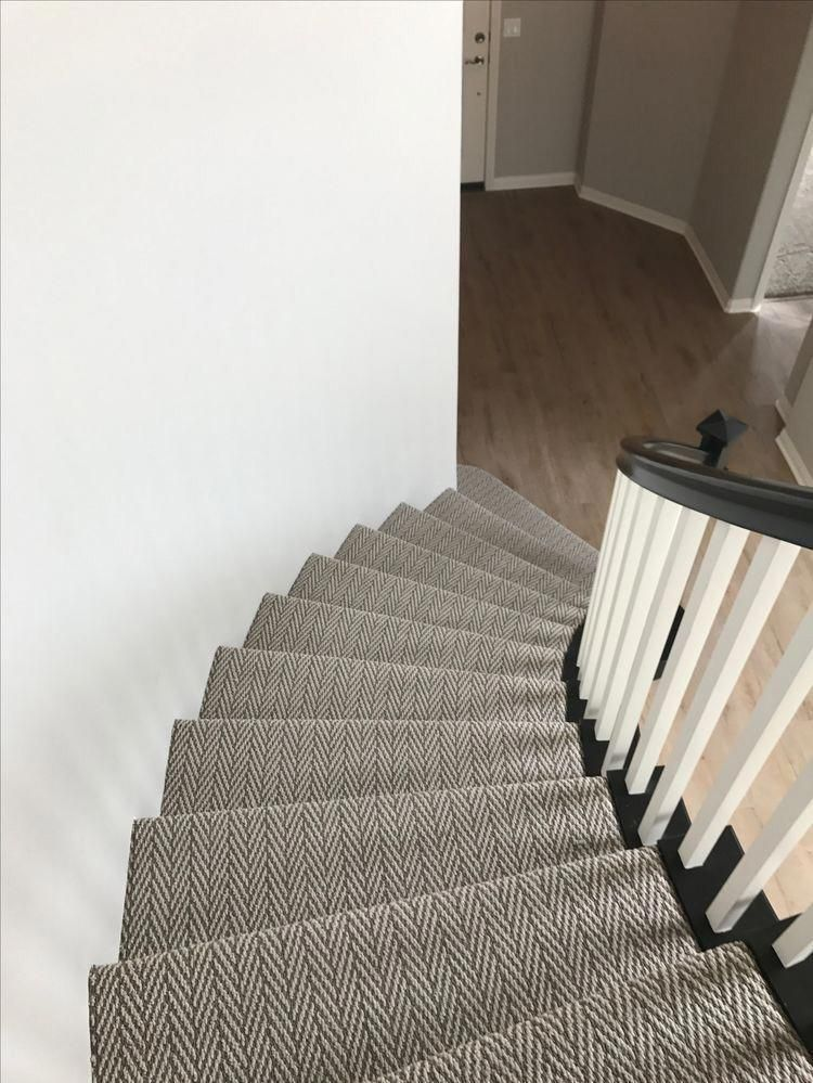 Herringbone Carpet On Curved Stairway I Like The Texture And Classic Style Hallwayideas Carpet Staircase Stair Runner Carpet Carpet Stairs