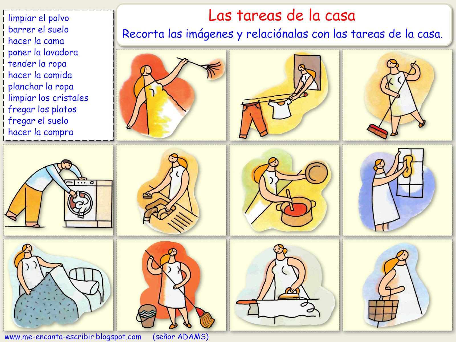 Me Encanta Escribir En Espanol Las Tareas De La Casa