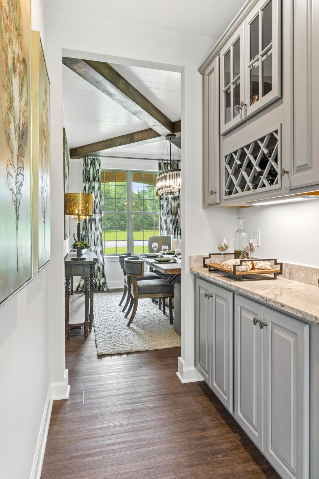 Butler S Pantry With Gray Cabinets Drees Homes The Dining Room With The Cross Beam Ceiling Oh Yeah House Floor Plans Home Elegant Dining Room