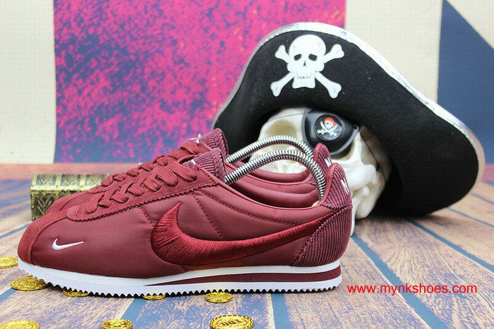 separation shoes d75b7 8bcc8 discount womens nike cortez embroidery wine red white shoes baf3e f872c