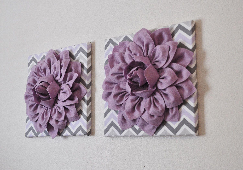 Purple Nursery Wall Decor Lilac Dahlia on Lilac Gray and White ...