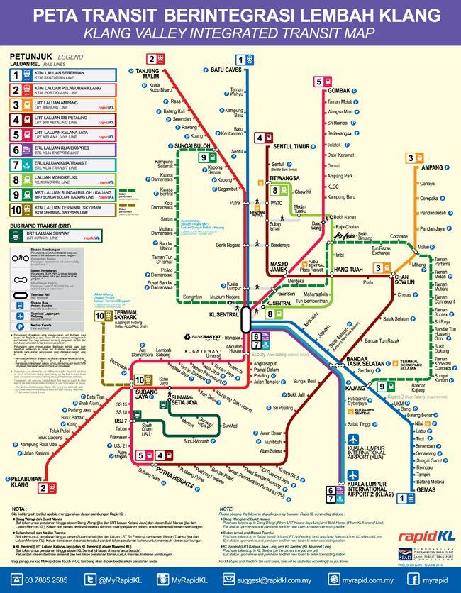 Integrated Rail Transit Map MyRapid Malaysia Travel